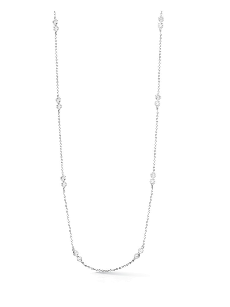 White Gold Lulu Jack Double Bezel Necklace