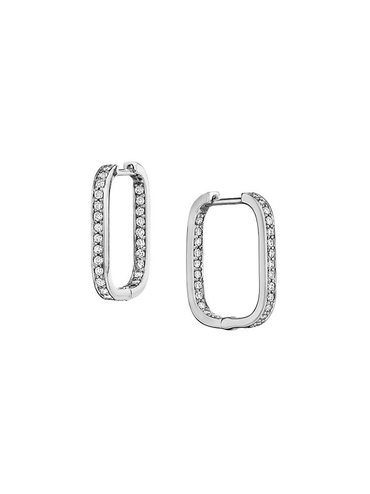 Piece Square Diamond Hoop Earrings