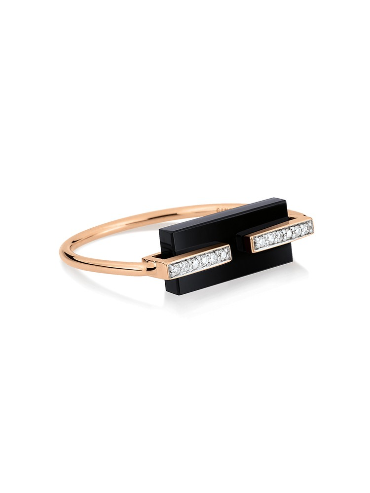 GINETTE NY 18K Rose Gold Onyx And Diamond Art Deco Ring