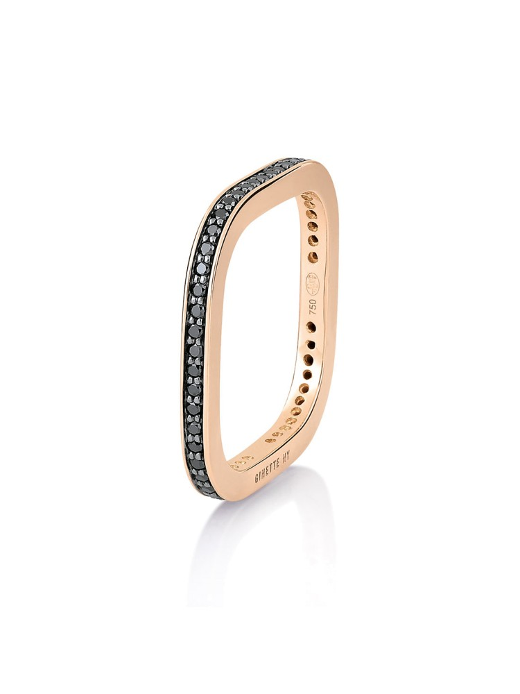 GINETTE NY 18K Rose Gold Black Diamond Tv Ring