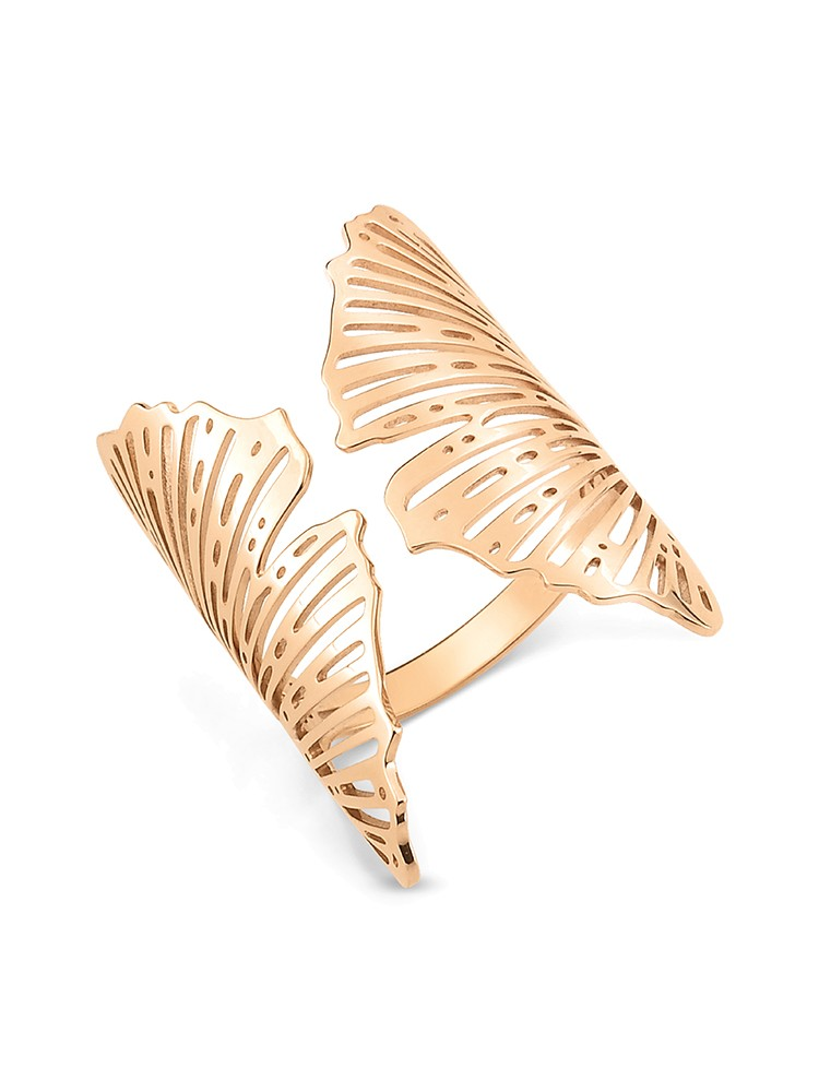 GINETTE NY 18K Rose Gold Large Open Gingko Ring