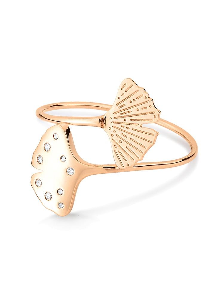 GINETTE NY 18K Rose Gold Diamond Gingko Double Ring
