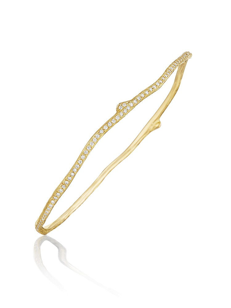 18K Gold Wonderland Eternity Pave Diamond Twig Bangle