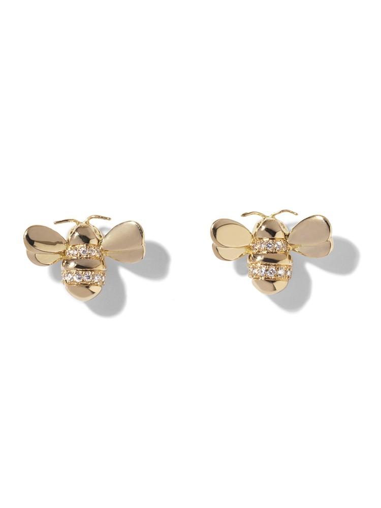 18K Gold Wonderland Diamond Bee Stud Earrings