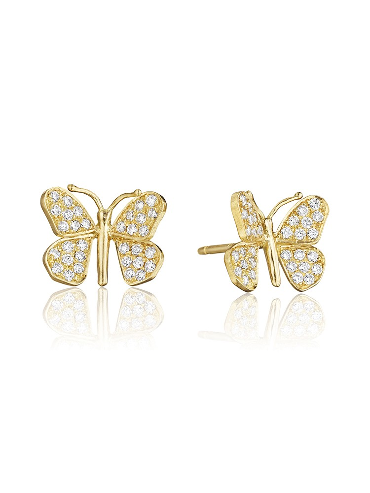 18K Gold Wonderland Butterfly Diamond Stud Earrings