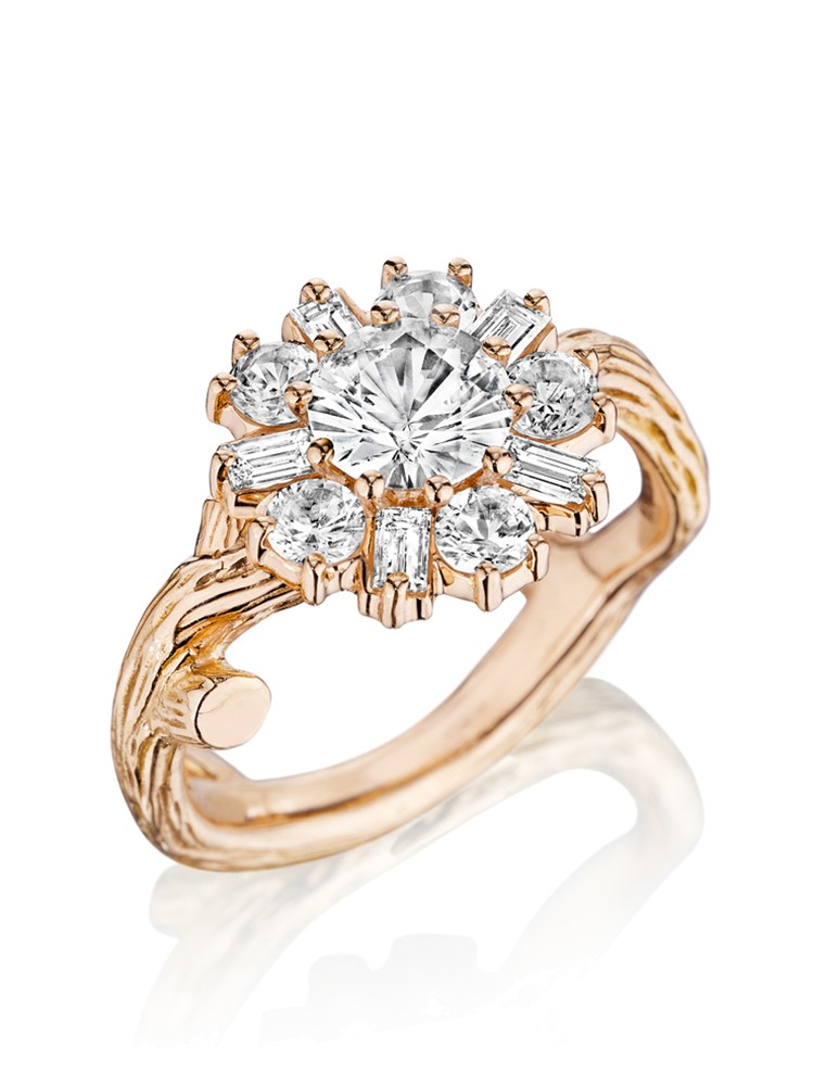 18K Gold Wonderland White Sapphire Flower Ballerina Ring