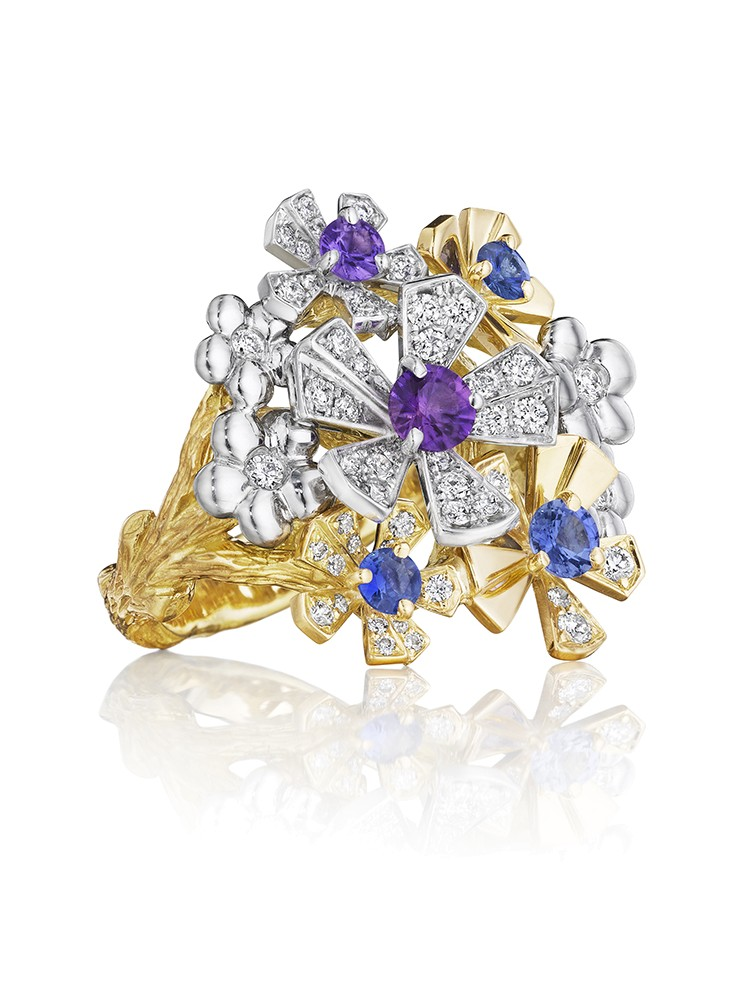 18K Gold Wonderland Pow Orchid Purple and Blue Sapphire Ring