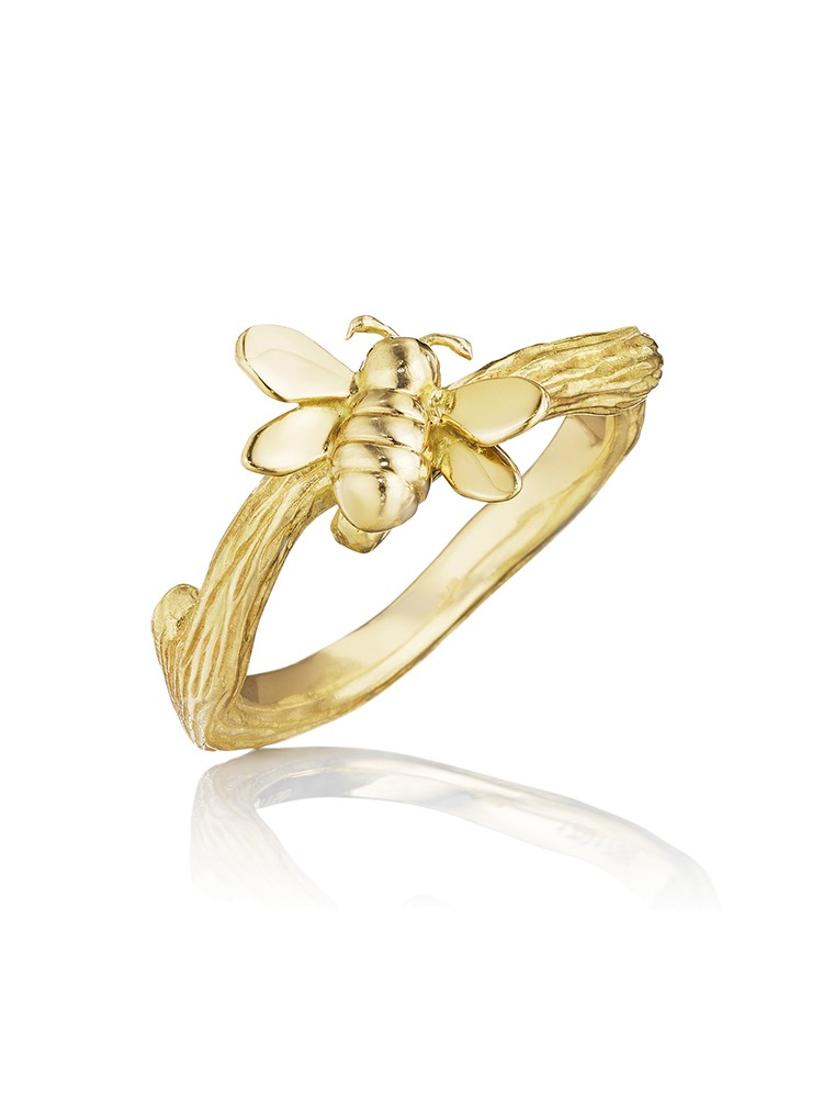 18K Gold Wonderland Stackable Small Bee Ring