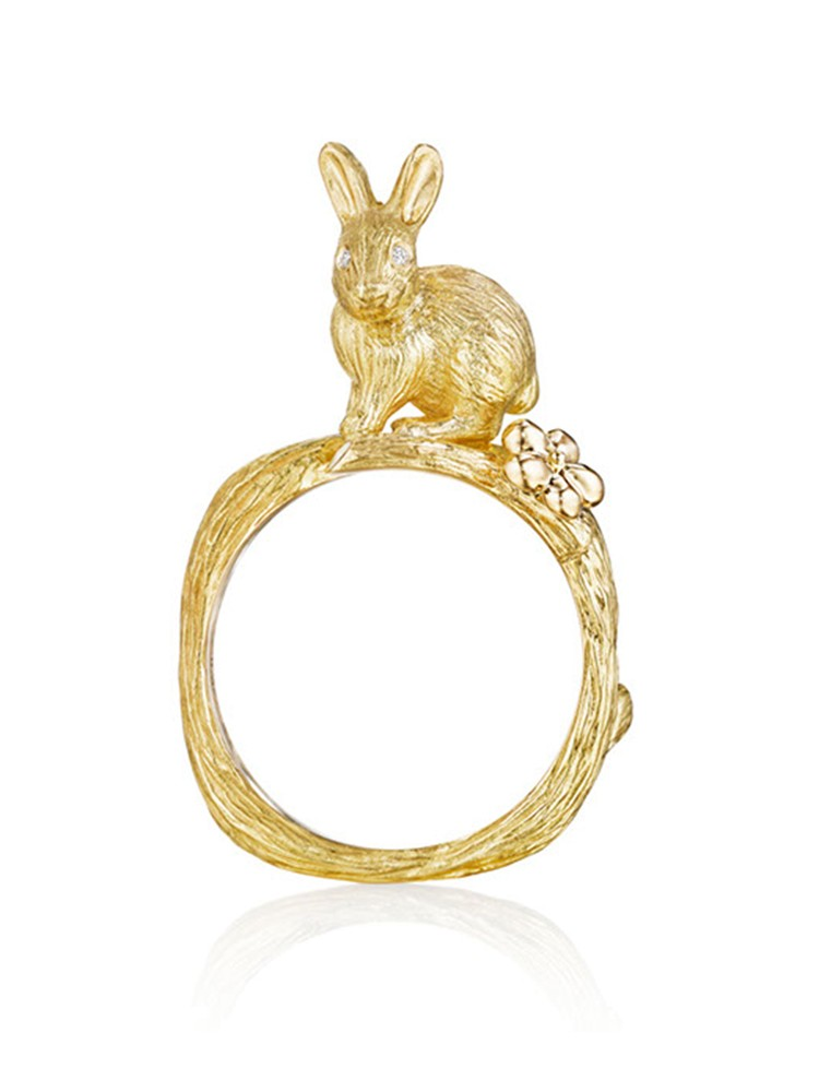 18K Gold Wonderland Stackable Bunny and Orchid Ring