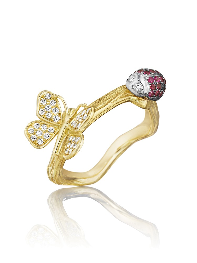 18K Gold Wonderland Stackable Lady Bug and Butterfly Ring