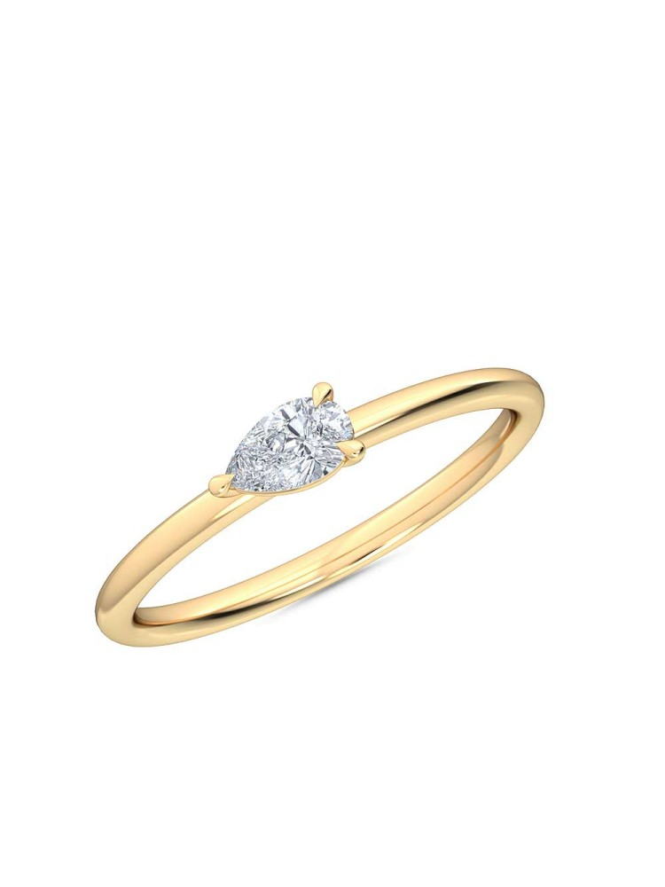 0.25 Ct Horizontal Pear Cut Petite Lab Grown Diamond Ring in 14K Yellow Gold