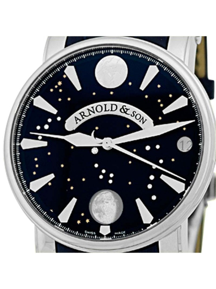 Arnold & Son True Moon Stainless Steel Strap Mens Watch