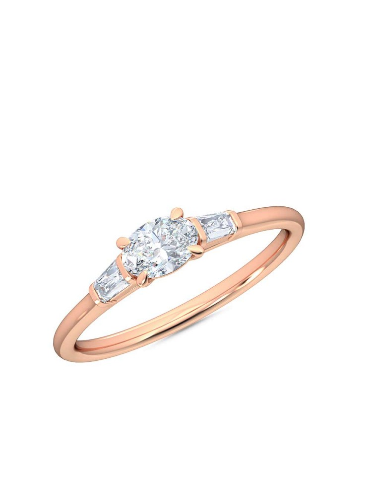 0.30 Ct Horizontal Oval and Baguette Cut Petite Lab Grown Diamond Ring in 14K Rose Gold (E-F, VS1-VS2, 0.30 cttw) by MadeForUs