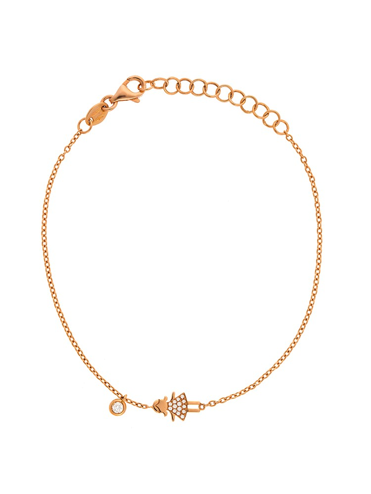 Dainty Collection 18k Rose Gold Diamonds Bracelet