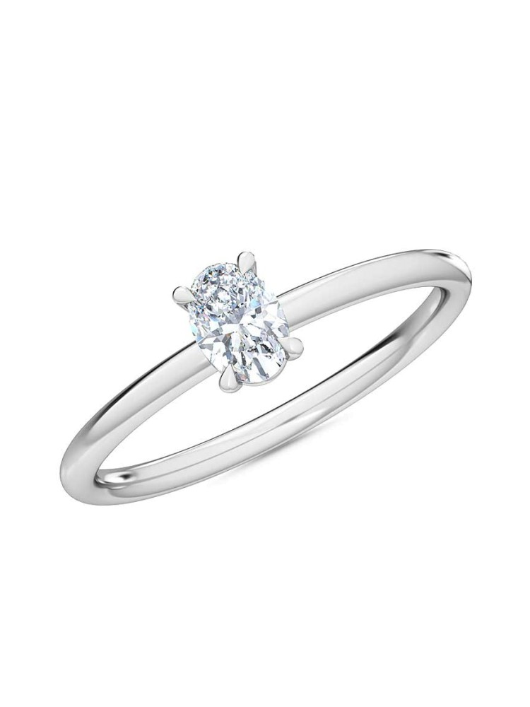 0.25 Ct Oval Cut Petite Lab Grown Diamond Ring in 14K White Gold