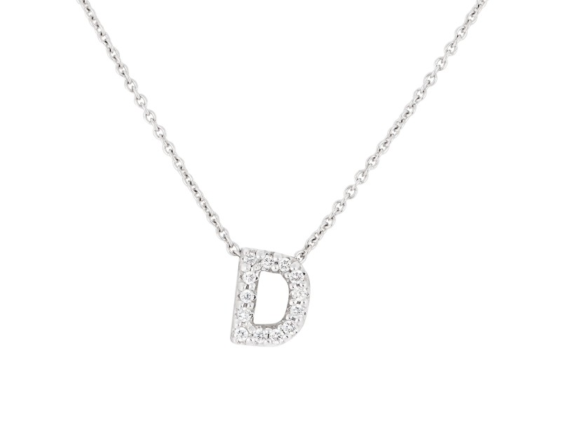 Roberto Coin 18K White Gold 0.06ct Diamond Love Letter D Necklace
