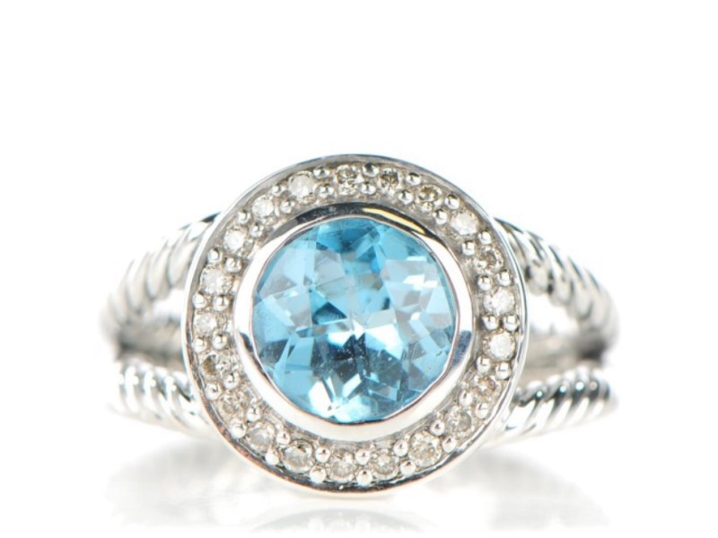 David Yurman Sterling Silver With Aquamarine & Diamonds Ring Size 5