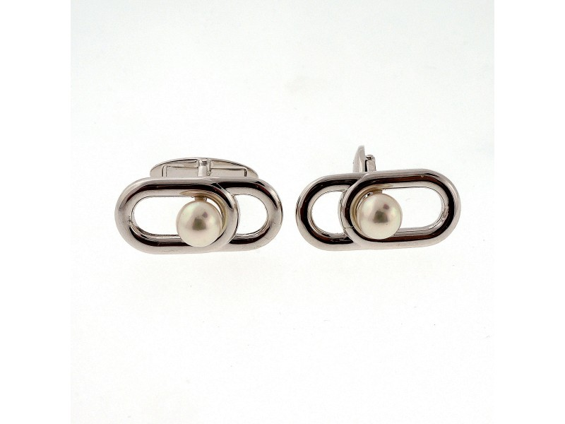 Mikimoto Sterling Silver Cultured Pearl Cufflinks