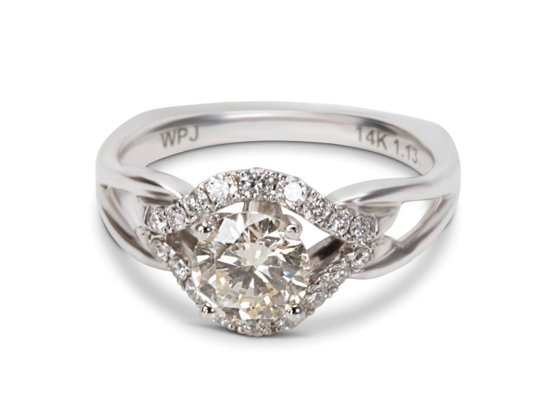 BRAND NEW Diamond Halo Engagement Ring in 14K White Gold (1.13 CTW)