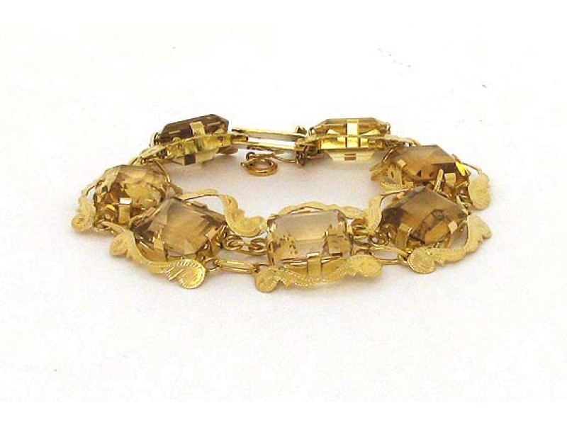 18K Yellow Gold Smokey Topaz Gemstone Scroll Design Bracelet