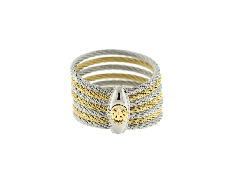 Alor 18K White Gold/Stainless steel & Yellow PVD & Stainless steel Cable RING