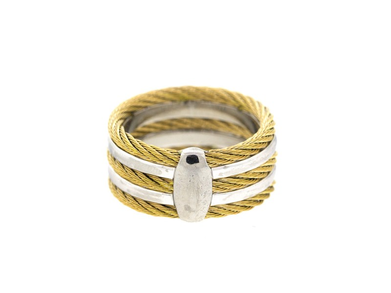 Alor 18K White Gold/Stainless steel & Yellow PVD RING Size 6.5