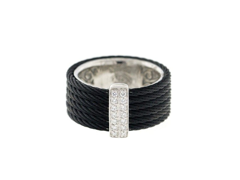 Alor 18K White Gold/Stainless steel & Black PVD RING