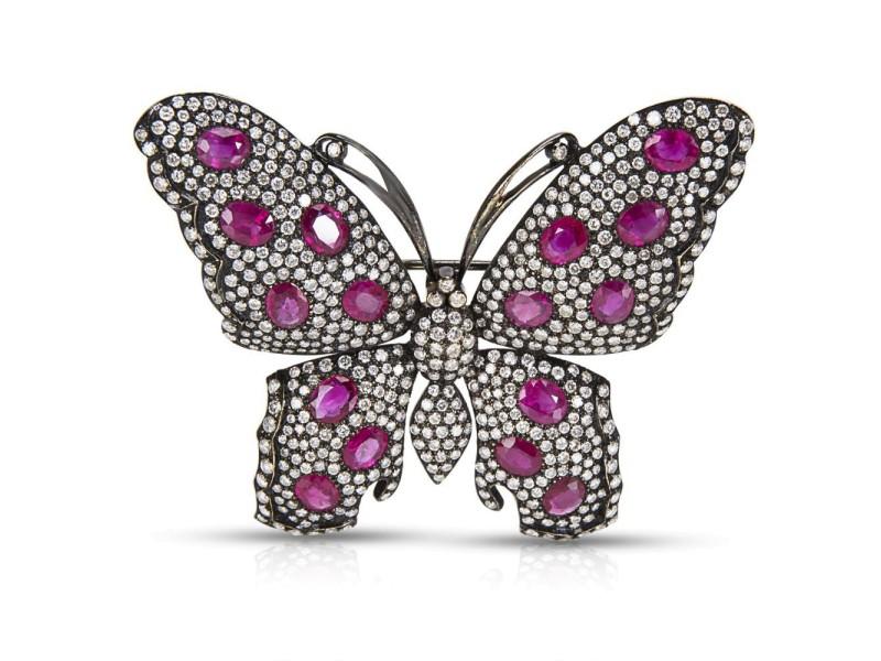 BRAND NEW IGL Certified Diamond & Ruby Butterfly Brooch in 18k WG (6.25 CTW)