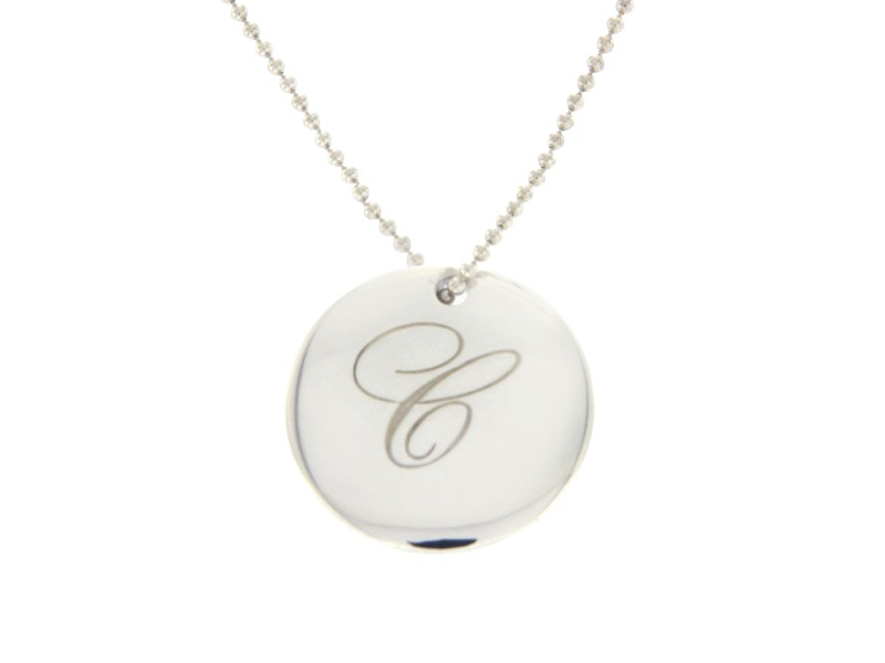 """Tiffany & Co. 925 Sterling Silver """"C"""" Letter Pendant Necklace"""