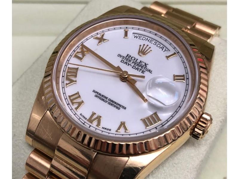 Rolex Day-Date Rose Gold White Roman Dial & Fluted Bezel President Bracelet 118238