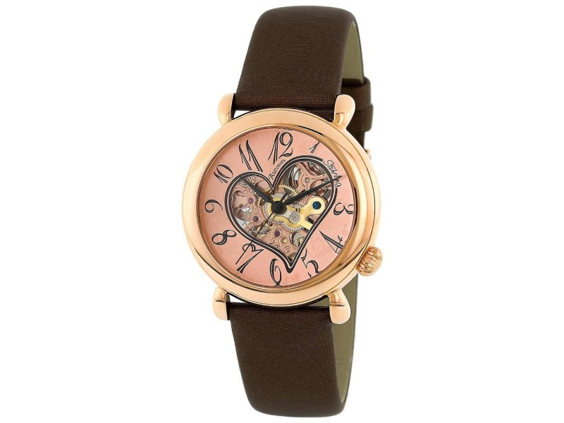 Stuhrling Cupid II 109.1245E14 Rose-Tone Stainless Steel & Leather 35mm Watch