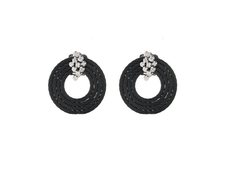 Alor 18K White Gold/Stainless steel & Black PVD Earring