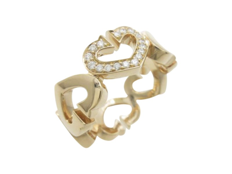 Cartier 750 Rose Gold C Heart  Ring Size 4.0