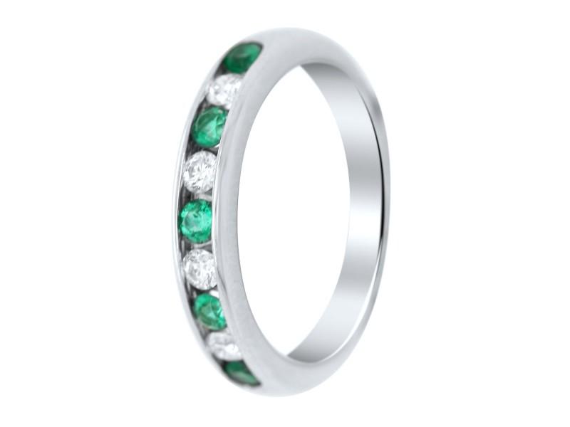 Tiffany & Co. Platinum Diamond and Emerald Ring