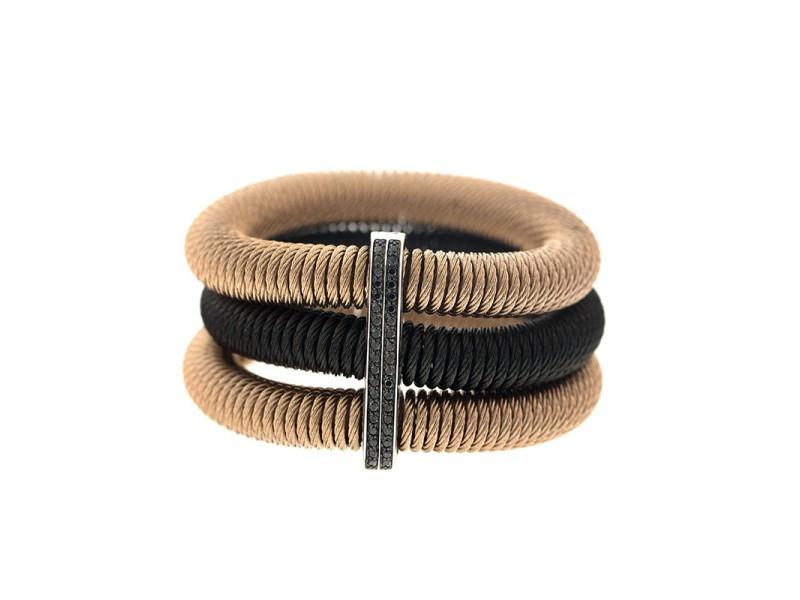 Alor 18K White Gold/Stainless steel, Black & ROSE Cable, Black Diamonds Bangle