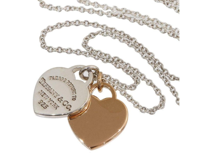 Tiffany Sterling Silver & 18k Rose Gold Double Heart Necklace