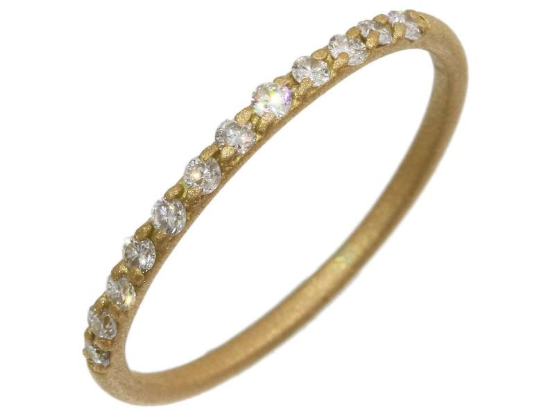 AHKAH 0.12ct Half Eternity Diamonds Ring in 18K Yellow Gold US4.25
