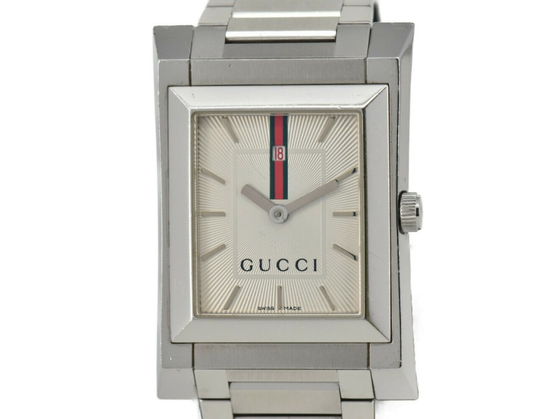 GUCCI 111M Silver Dial Stainless Steel Quartz Men's Watch