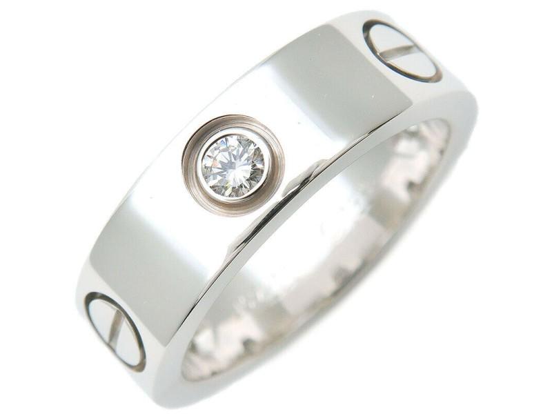 Cartier 18k White Gold 3P Half Diamond Love Ring