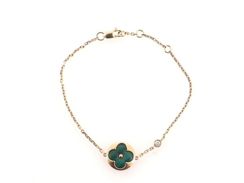 Louis Vuitton Color Blossom BB Bracelet 18K Rose Gold with Malachite and Diamond