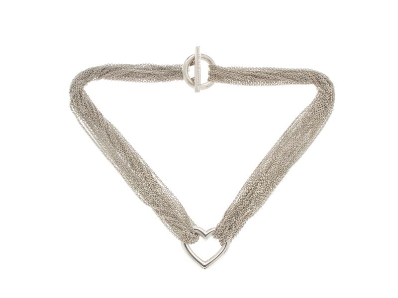 Tiffany & Co. 925 Sterling Silver Multi-Chain Heart Pendant Necklace