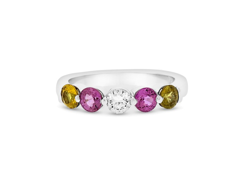 1.20 Ct. Genuine Pink and Yellow Sapphires & Diamond Anniversary Band 14k White Gold