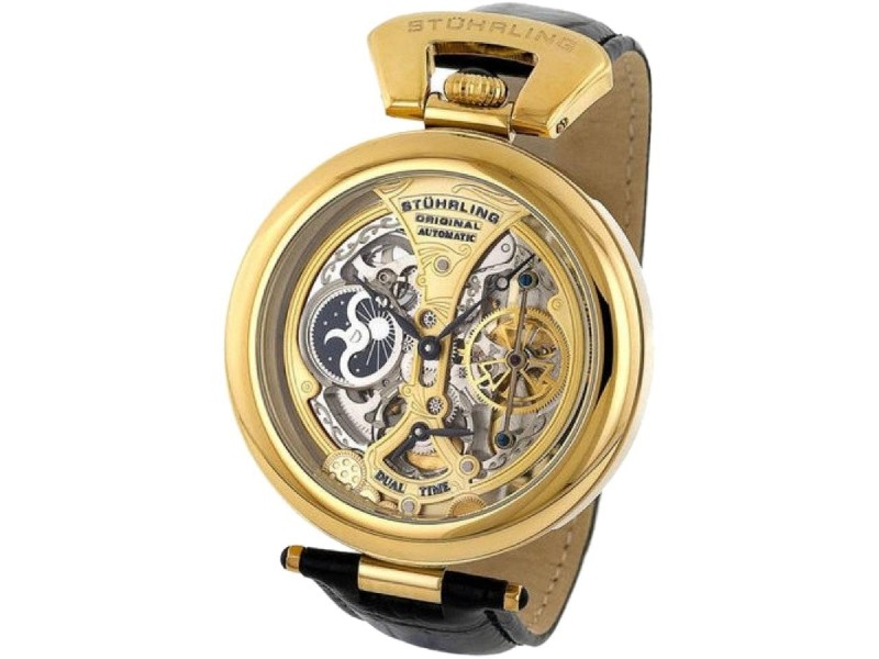 Stuhrling Emperor's Grandeur Gold-Tone Stainless Steel & Leather 48.9mm Watch