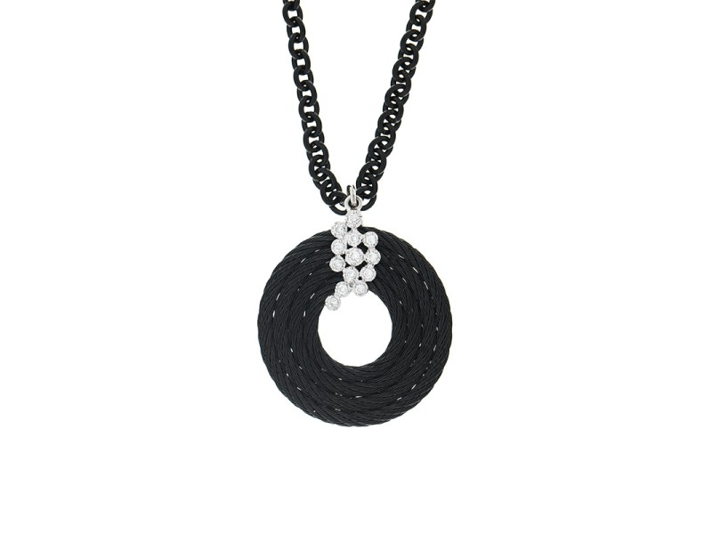 Alor 18K White Gold/Stainless steel & Black PVD ON BLACK PVD Necklace