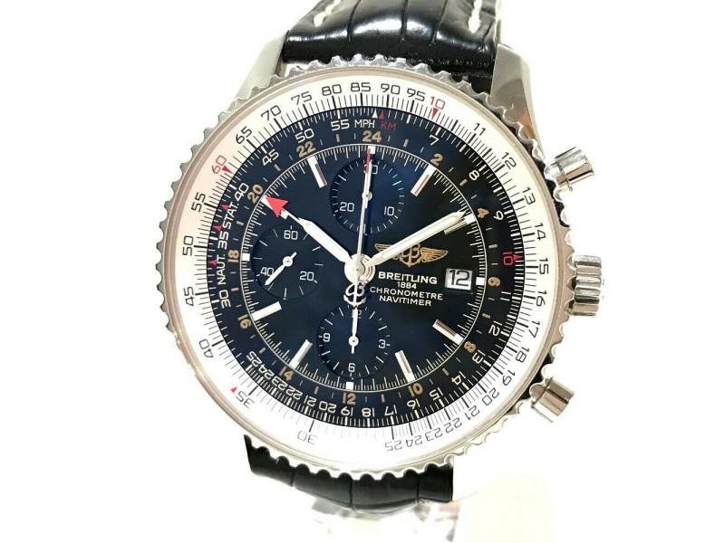 BREITLING A24322 Navi timer Stainless Steel/Croco leather belt World Chronometer Wrist watch RSH-1110