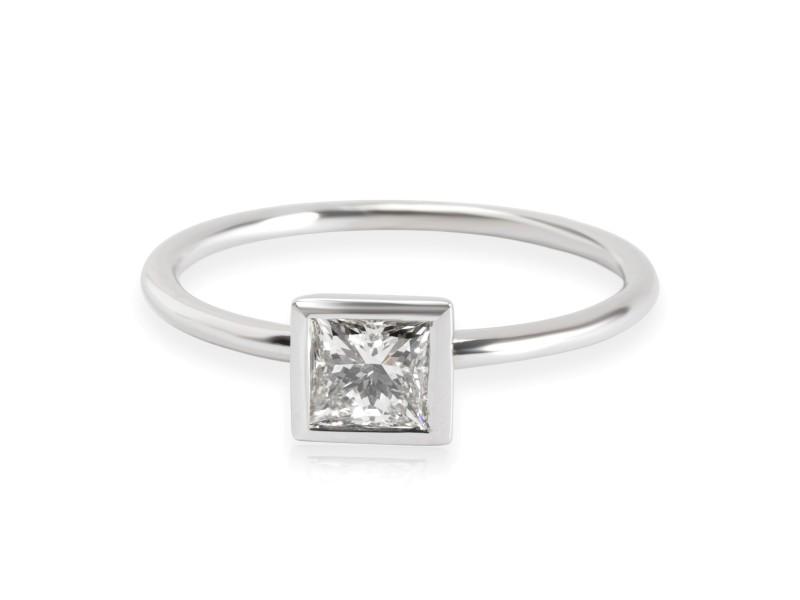 GIA Certified Bezel Set Princess cut Stackable Ring in 14KT Gold J I1 0.51 Ct