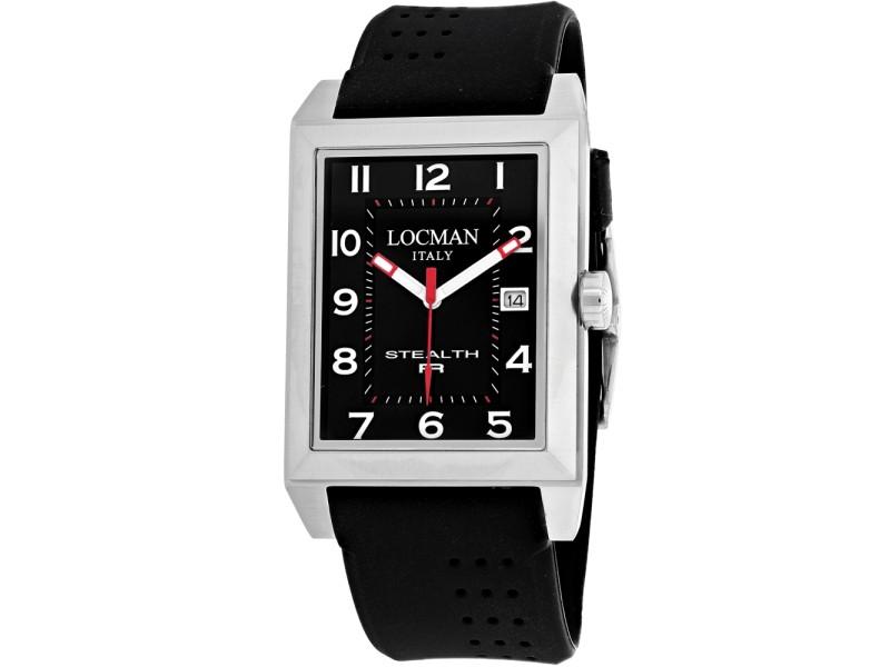 Locman Men's StealthTitanium case, Silicone strap, Black dial, Quartz movement, Scratch resistant mineral, Water resistant up to 5 ATM - 50 meters - 165 feet