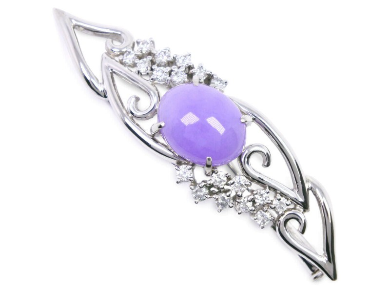 Platinum/Lavender flower/diamond Brooch