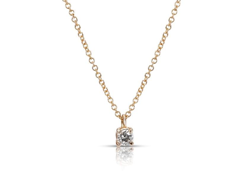 Tiffany & Co. Solitaire Diamond Pendant in 18K Rose Gold 0.12 CTW