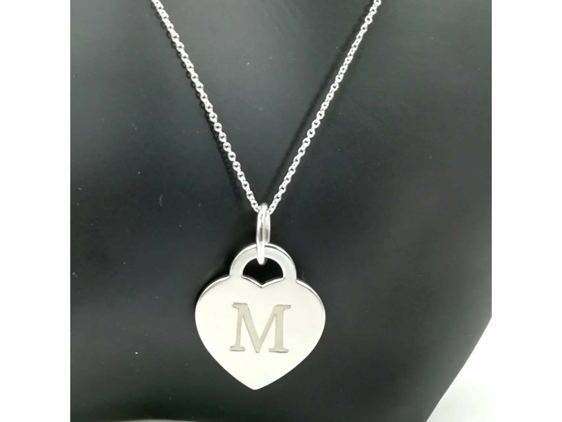 TIFFANY & Co. silver Heart Initials necklace
